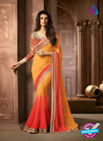 AZ 2043 Light Orange and Dark Orange Georgette Fancy Party Wear Saree