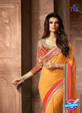 AZ 2043 Light Orange and Dark Orange Georgette Fancy Party Wear Saree - Sarees - NEW SHOP