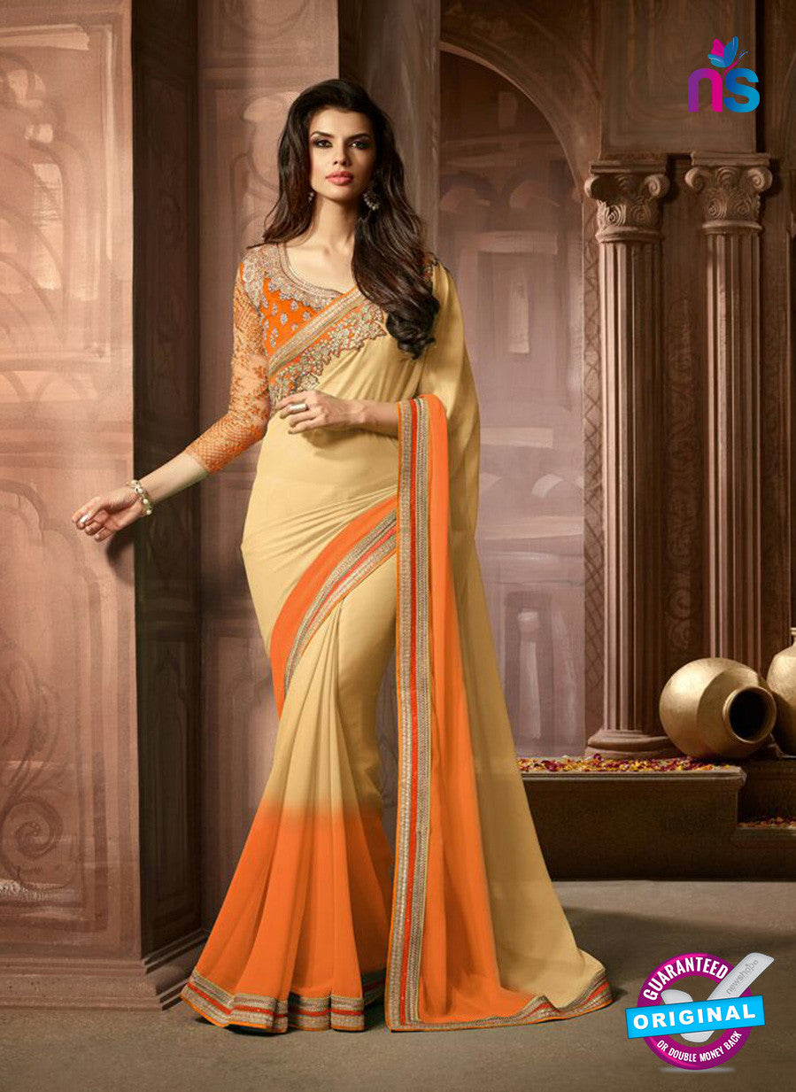 AZ 2044 Beige and Orange Georgette Fancy Party Wear Saree