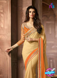 AZ 2044 Beige and Orange Georgette Fancy Party Wear Saree - Sarees - NEW SHOP