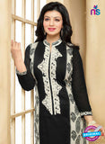 SC 13294 Black and White Printed Cambric Lawn Straight Suit Online