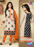 SC 13299 Black and Orange Cambric Lawn Straight Suit