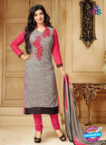 SC 13300 Grey and Pink Cambric Lawn Straight Suit