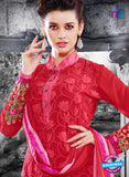 NS11123 Red and Green Faux Georgette Straight Suit Online