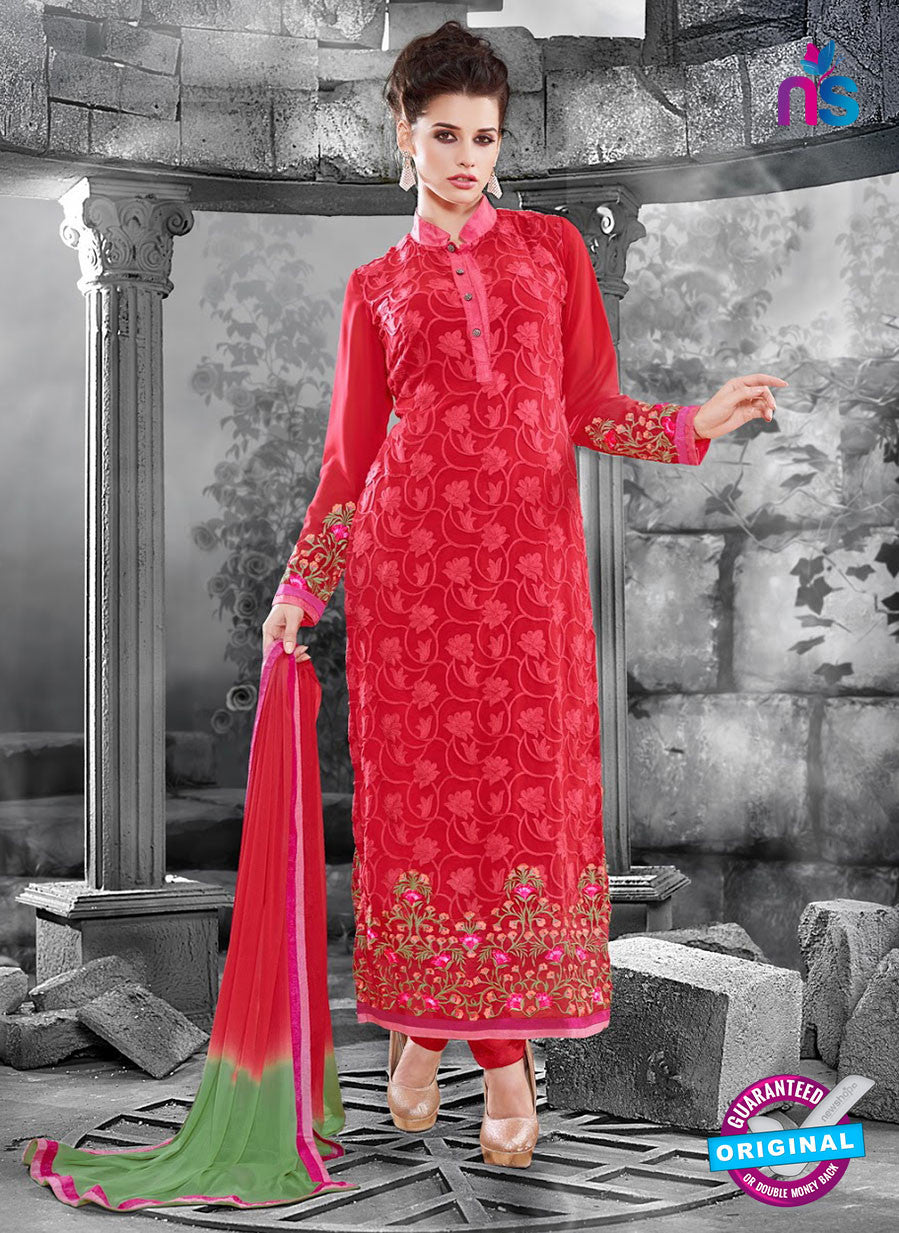 NS11123 Red and Green Faux Georgette Straight Suit