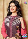 SC 13297 Brown and Pink Cambric Lawn Straight Suit