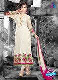 NS11124 Beige and Pink Faux Georgette Straight Suit