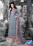 NS11125 Grey and Pink Faux Georgette Straight Suit