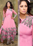 NS11901  Pink Silky Net and Georgette Designer Gawn