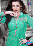 NS11127 Green and Pink Faux Georgette Straight Suit Online