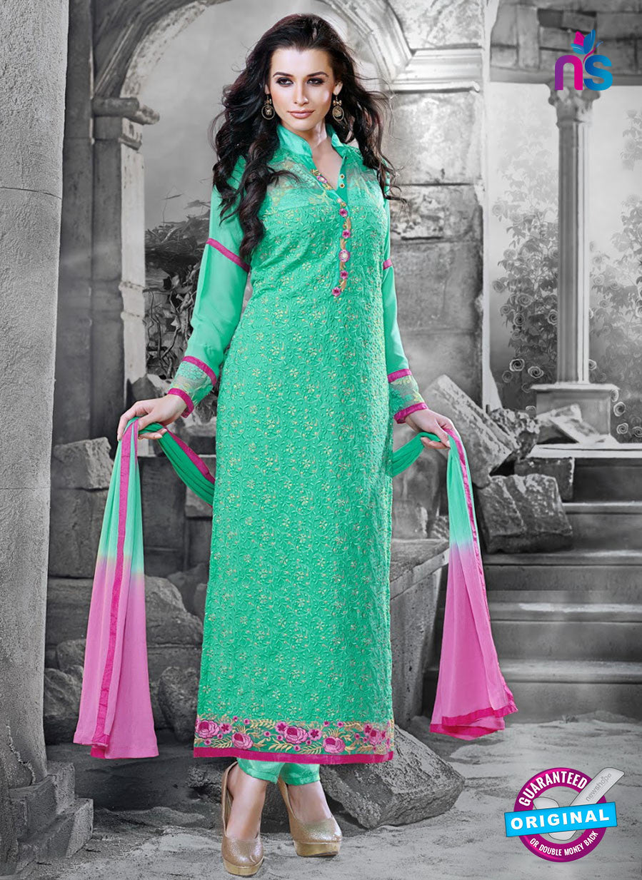NS11127 Green and Pink Faux Georgette Straight Suit