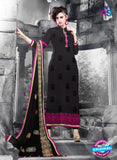 NS11128 Black and Pink Faux Georgette Straight Suit