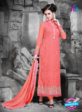 NS11129 Carrot Red and Pink Faux Georgette Straight Suit
