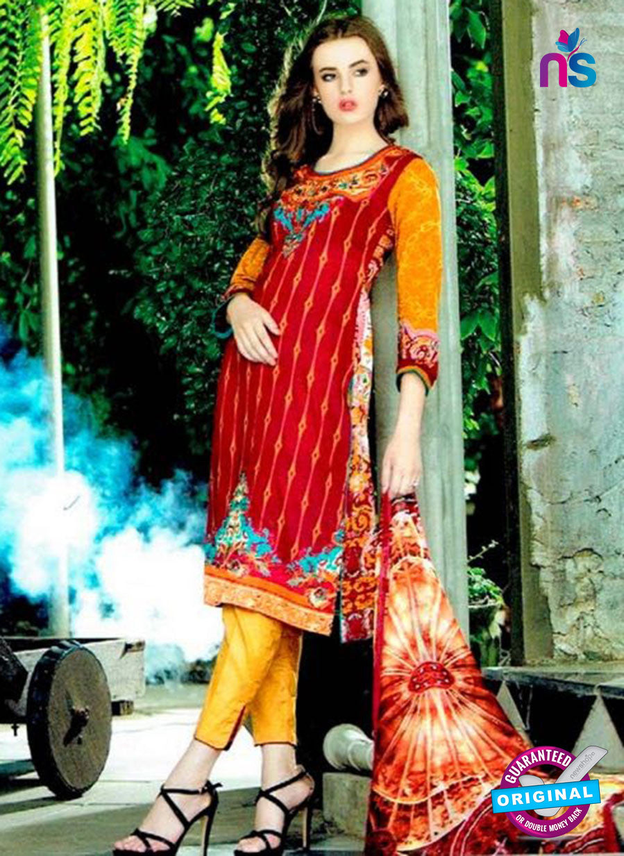 SC 12600 Red and Yellow Cotton Satin Straitht Suit