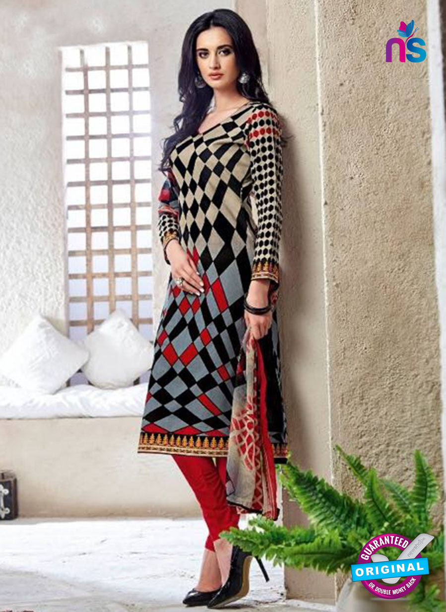 Kalakirti 1401 Red and Black Cotton Party Wear Suit