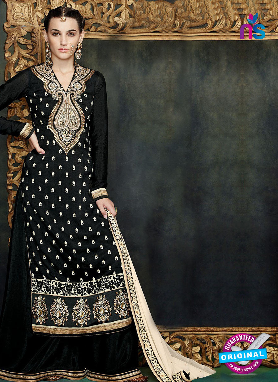 Kimora 1401 Black and Golden Georgette Party Wear Straight Suit