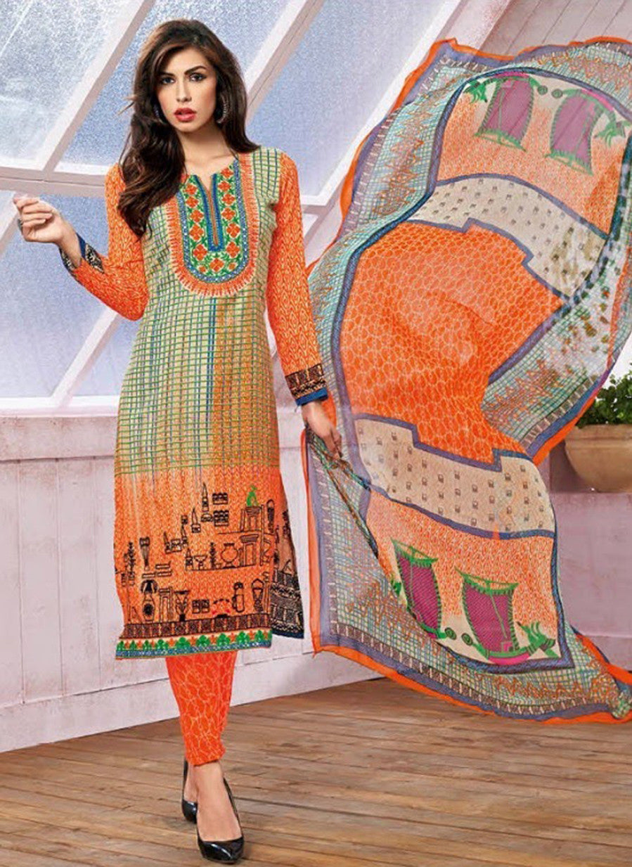 Kalakirti 1401 Orange Color Glace Cotton Designer Suit