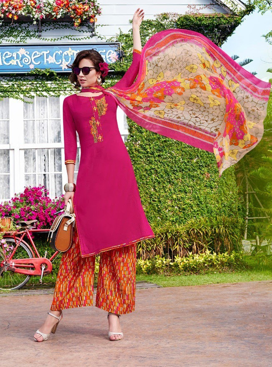 Teazle 1402 Orange & Pink Color Glace Cotton Designer Suit