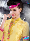 NS11130 Yellow and Pink Faux Georgette Straight Suit Online