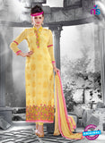 NS11130 Yellow and Pink Faux Georgette Straight Suit