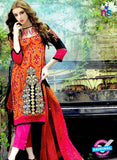 SC 12607 Orange, Pink and Black Cotton Satin Straitht Suit