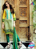 SC 12601 Green and Yellow Cotton Satin Straitht Suit