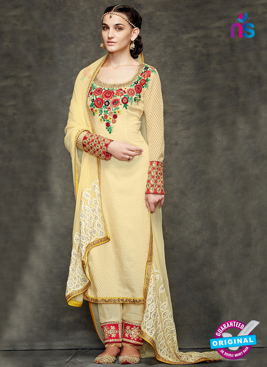 Kimora 1403 Light Yellow and Red Georgette Party Wear Straight Suit