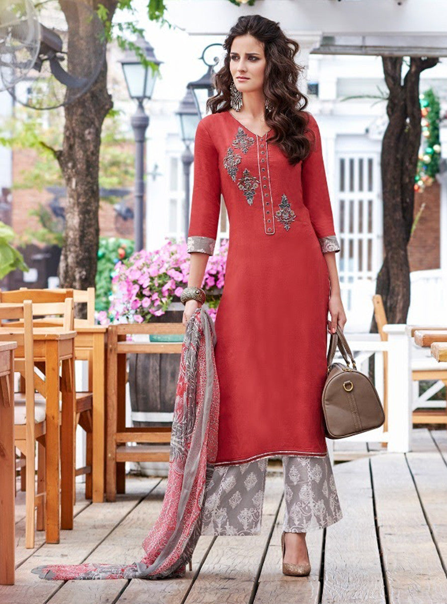 Teazle 1404 Red & Grey Color Glace Cotton Designer Suit