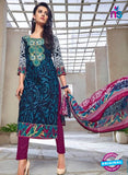 Kalakirti 1404 Purple And Blue Cotton Party Wear Suit