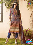 Vivek 1404 - Blue & Brown Color Cotton Designer Suit