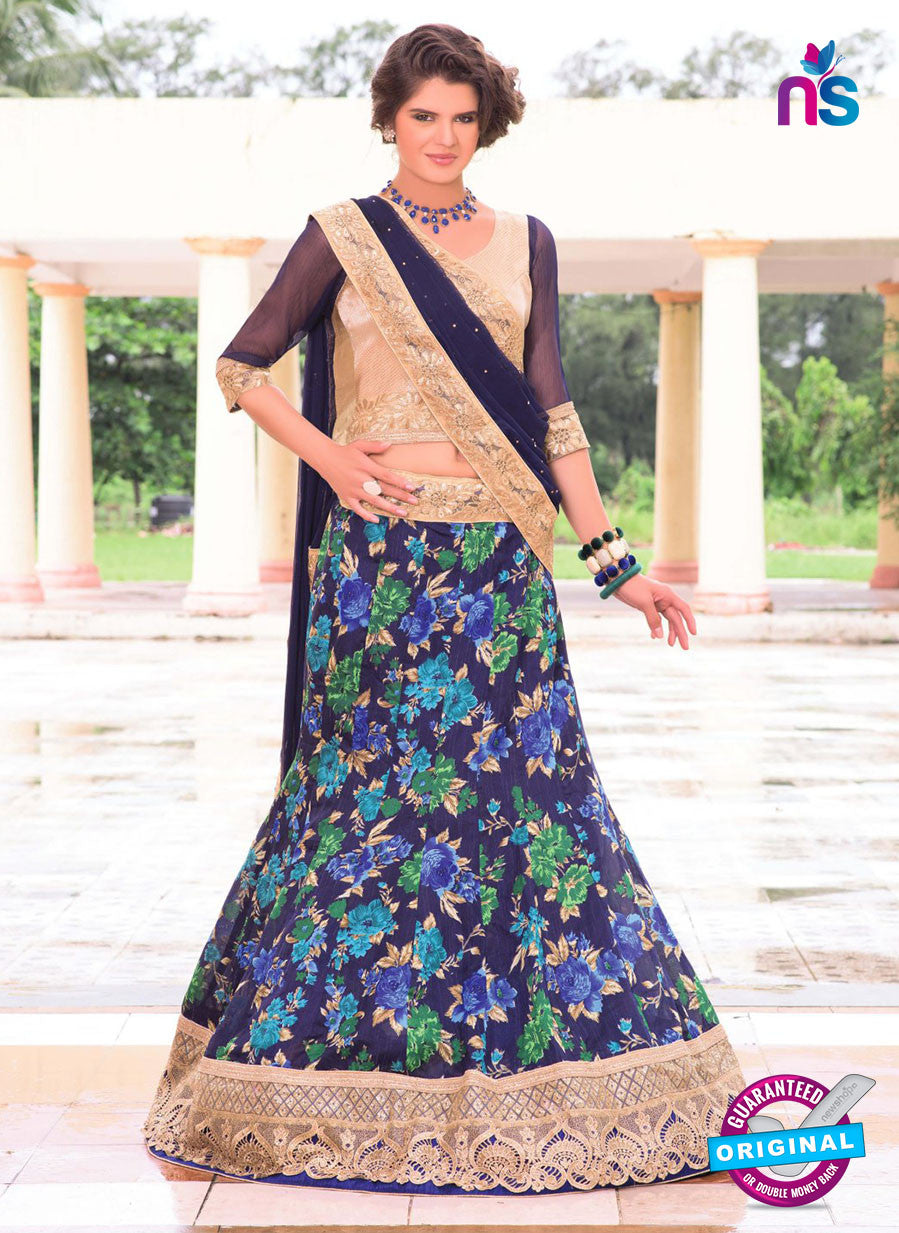 AZ 1090 Beige and Blue Silk Print Bhagalpuri Lehenga Choli