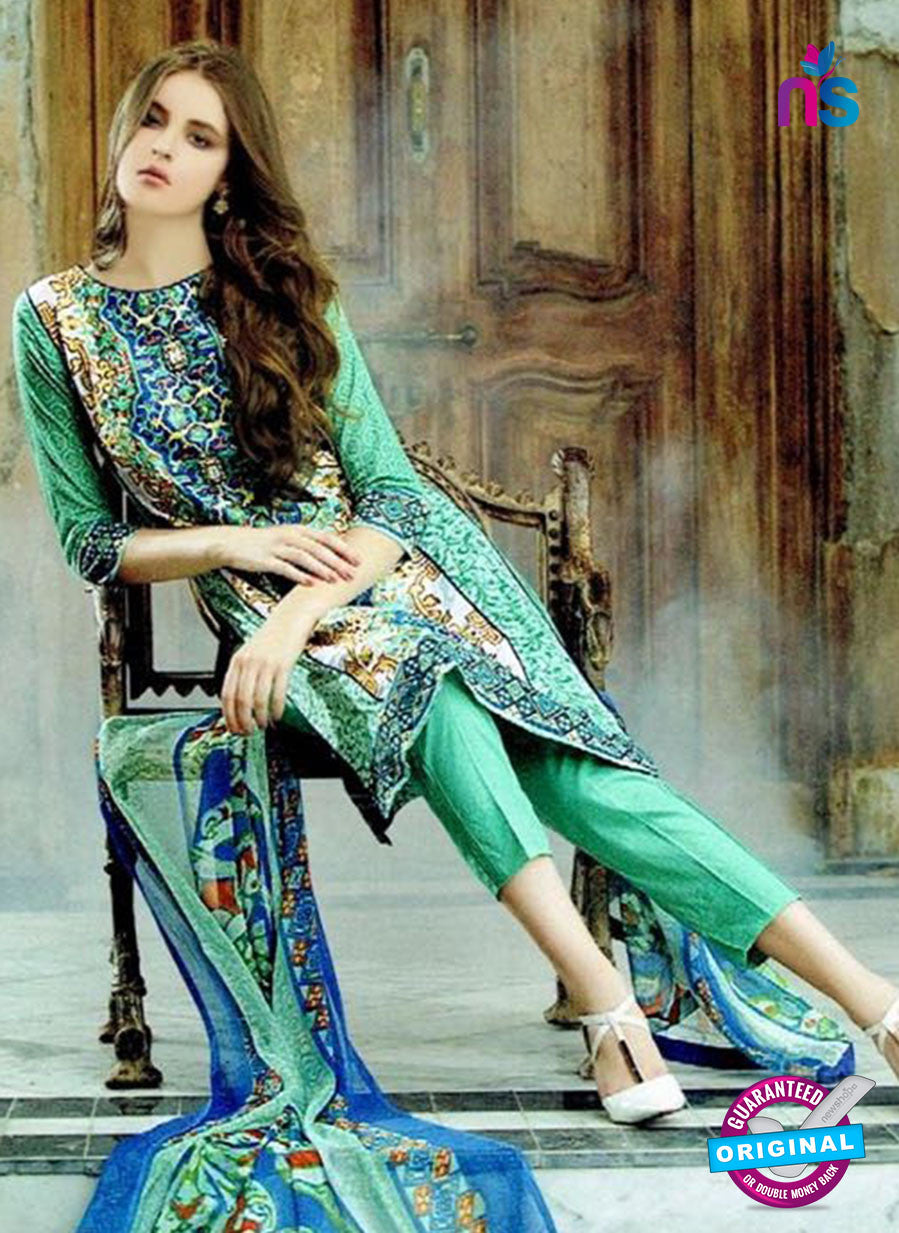 SC 12603 Green and Blue Cotton Satin Straitht Suit
