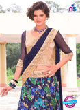 AZ 1090 Beige and Blue Silk Print Bhagalpuri Lehenga Choli - Lehengas - NEW SHOP