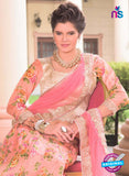 AZ 1091 Beige and Pink Silk Print Bhagalpuri Lehenga Choli - Lehengas - NEW SHOP