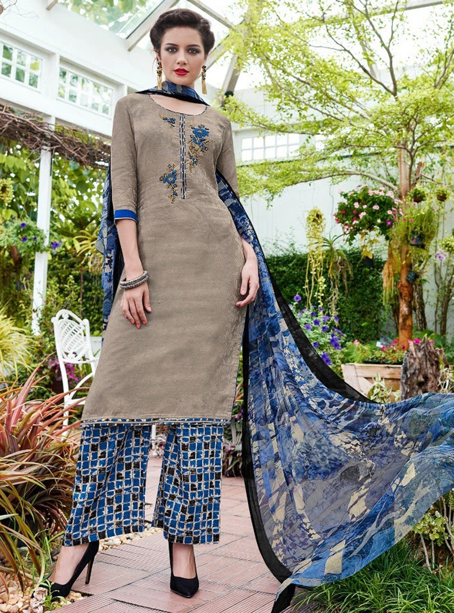 Teazle 1407 Grey & Blue Color Glace Cotton Designer Suit