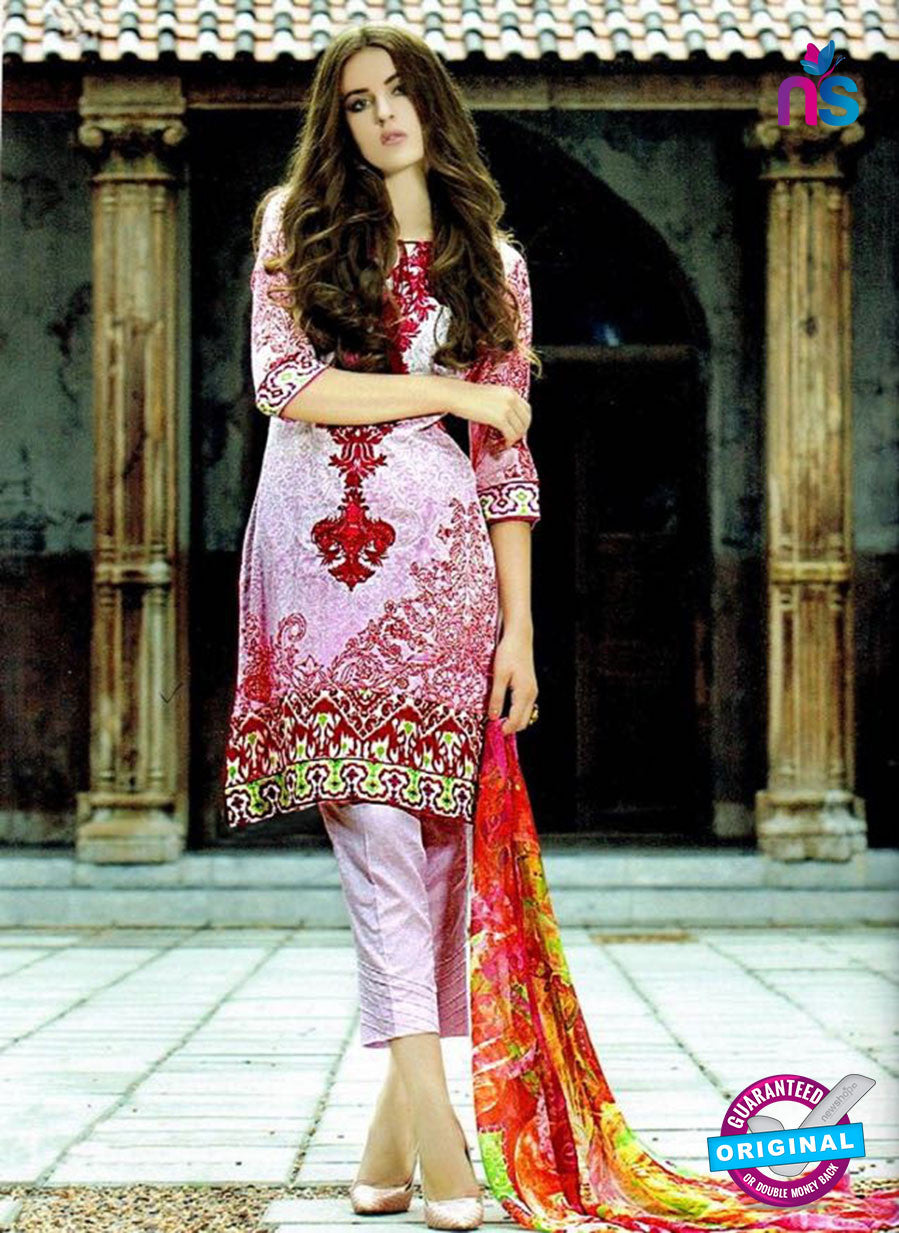 SC 12605 Pink and Red Cotton Satin Straitht Suit