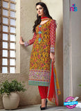 Kalakirti 1408 Red and Yellow Cotton Party Wear Suit