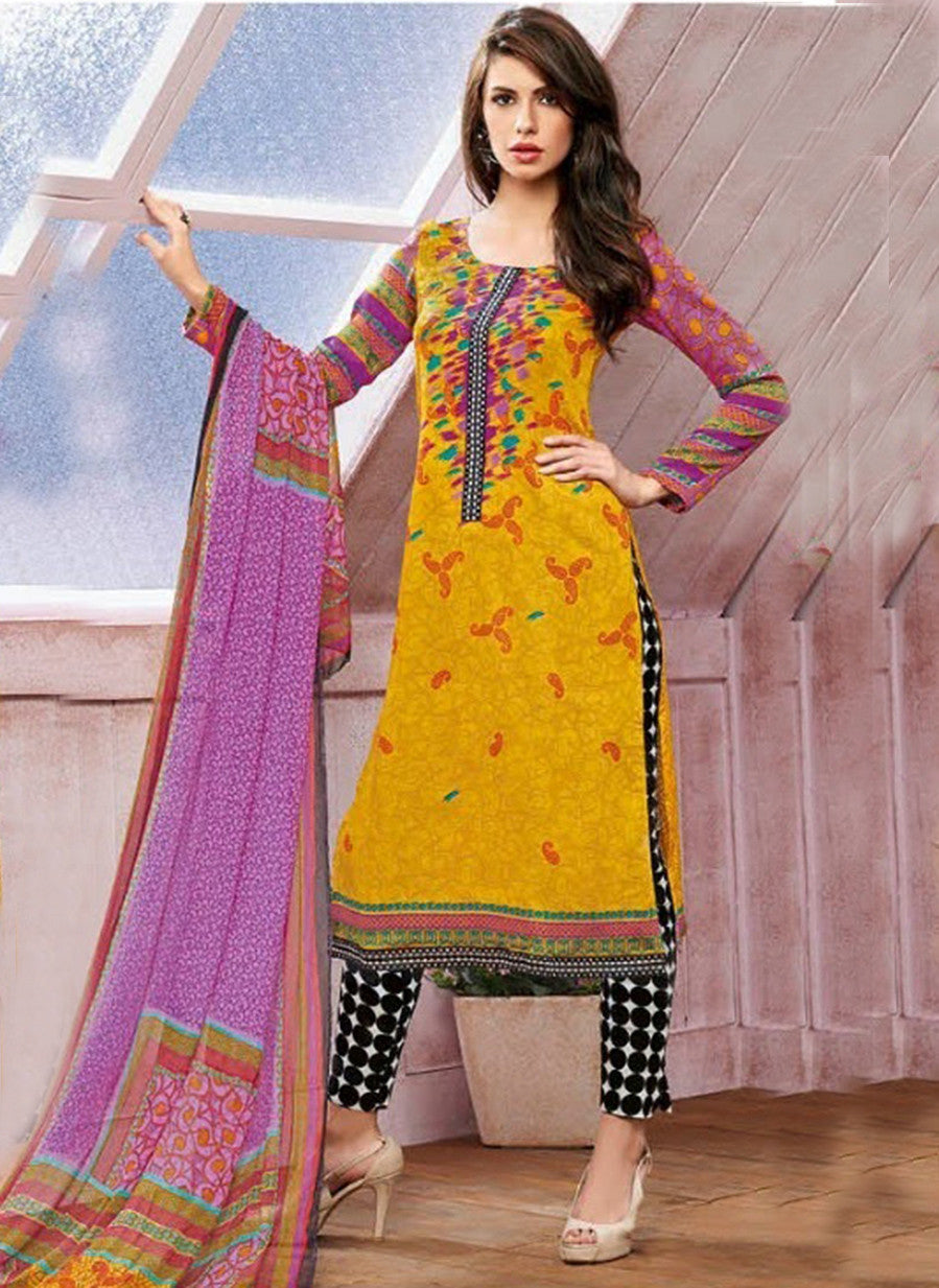 Kalakirti 1408 Yellow Color Glace Cotton Designer Suit