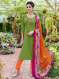 Teazle 1408 Green & Orange Color Glace Cotton Designer Suit
