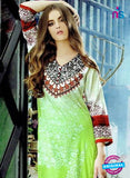 SC 12604 Green and White Cotton Satin Straitht Suit