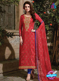 SC 14087 Red and Blue Satin Cotton Exclusive Fancy Designer Straight Suit