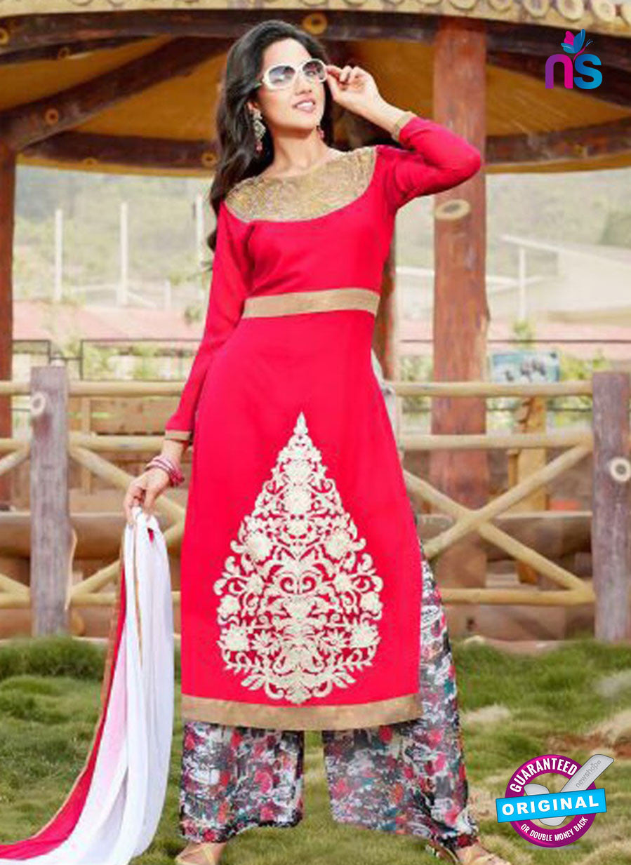 NS10255 Magenta and Multicolor Party Wear Suit Georgette Plazzo Suit