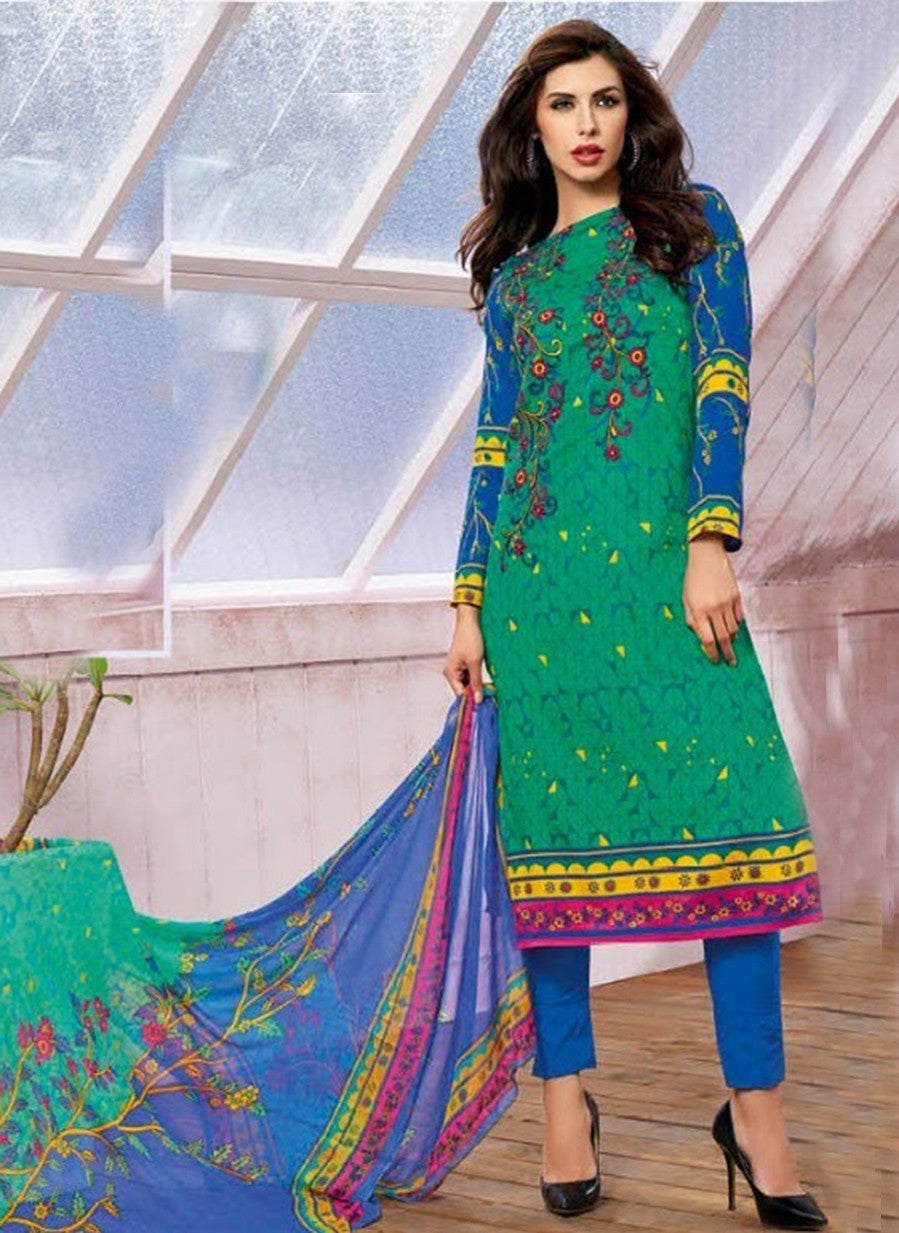 Kalakirti 1409 Green Color Glace Cotton Designer Suit