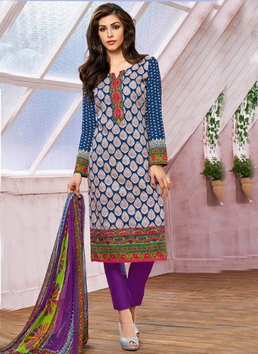 Kalakirti 1410 Purple Color Glace Cotton Designer Suit