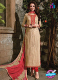 SC 14085 Beige and Red Satin Cotton Exclusive Fancy Designer Straight Suit