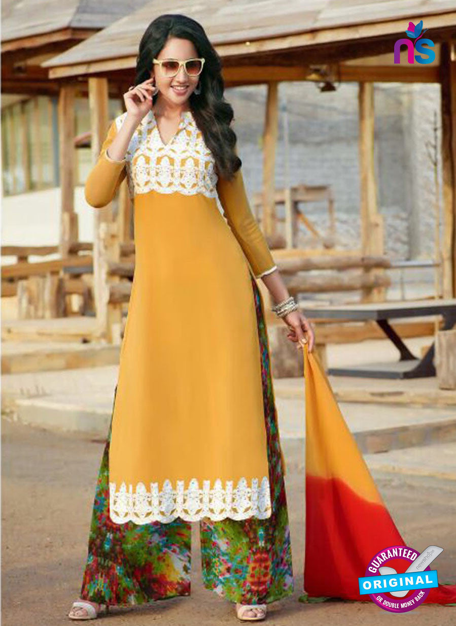 NS10256 Yellow and Multicolor Party Wear Suit Georgette Plazzo Suit