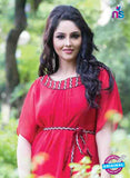 NS12069 Red Georgette Kurti
