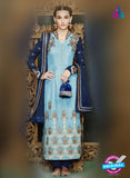 Kimora 1410 Sky Blue and Dark Blue Georgette Party Wear Straight Suit