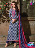 SC 14088 Blue Exclusive Satin Cotton Fancy Designer Straight Suit