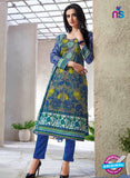 Kalakirti 1411 Blue and Grey Cotton Party Wear Suit